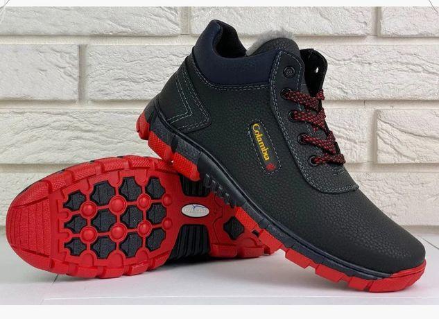 Мужские зимние ботинки черные прошитые Columbia Sportswear