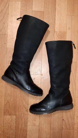 Фирменные зимние кожаные сапоги на низком ходу Ecco рр 36