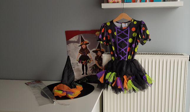 NOWY Strój karnawałowy czarownica Halloween 104 + GRATIS różdżka wróżk