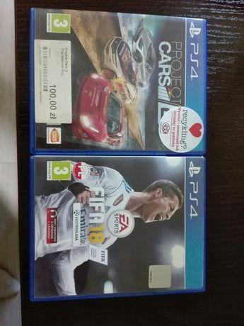 Sprzedam gry PS4 FIFA 18, PROJECT CARS 2