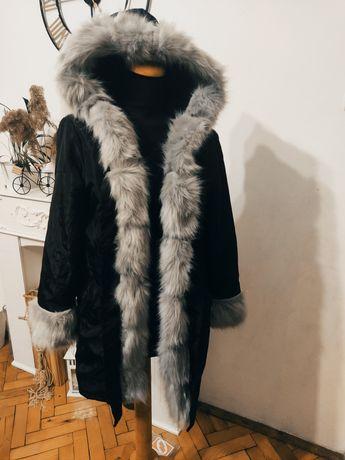 Płaszcz zimowy z futerkiem S