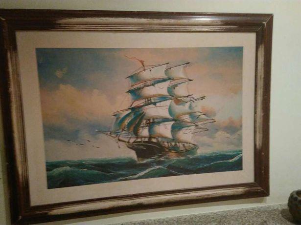 Quadro - Gravura veleiro bonita com moldura
