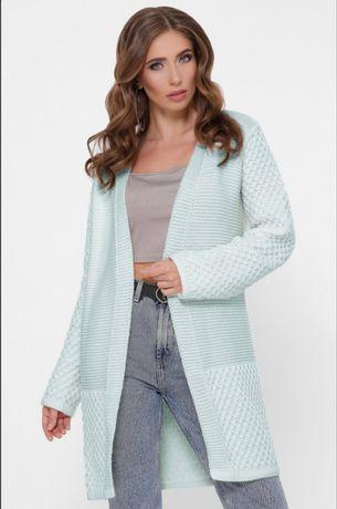 Кардиган женский,лёд/нежно-зеленого цвета/вязаный стильный жилет/кофта
