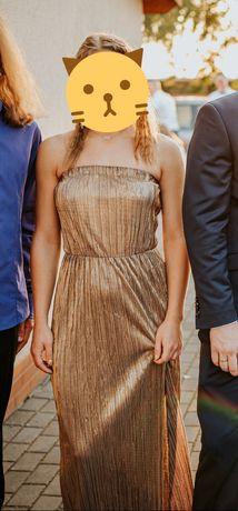 złota długa suknia wieczorowa