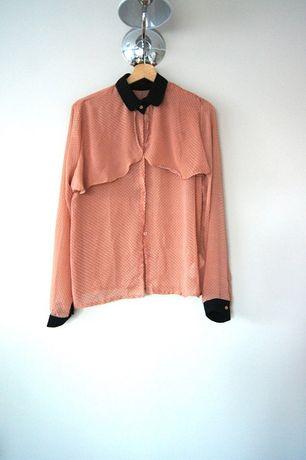 czerwona koralowa elegancka koszula w grochy 44 42XXL bluzka falbanka