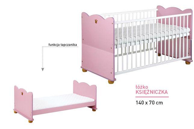 Łóżeczko 2 funkcyjne - Klupś Księżniczka biało-różowe