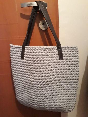 szara torba gruby sznurek bawełniany mieści A4 handmade