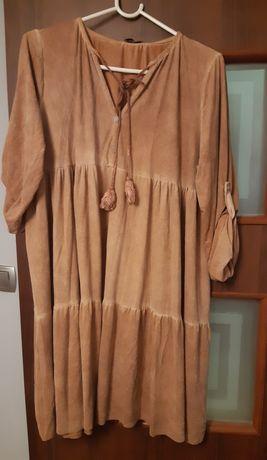 Włoska sukienka imitacja zamszu XL