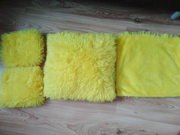 Poszewki włochacze żółte 4szt