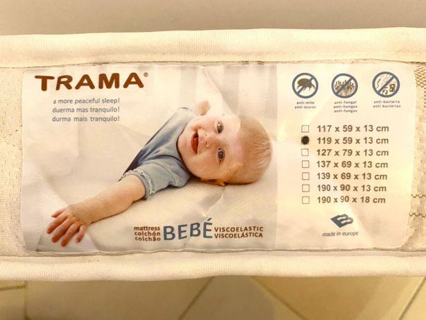 Berço bébécar TRAMA,oferta Colchão, mantas e lencois