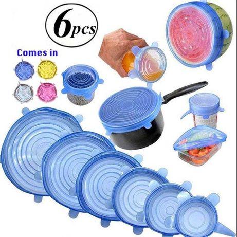 Силиконовые многоразовые крышки для посуды 6 шт. (крышка многоразовая)