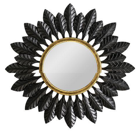Espelho Sol madeira Ouro e Negro Mirror - NOVO by OVO Home