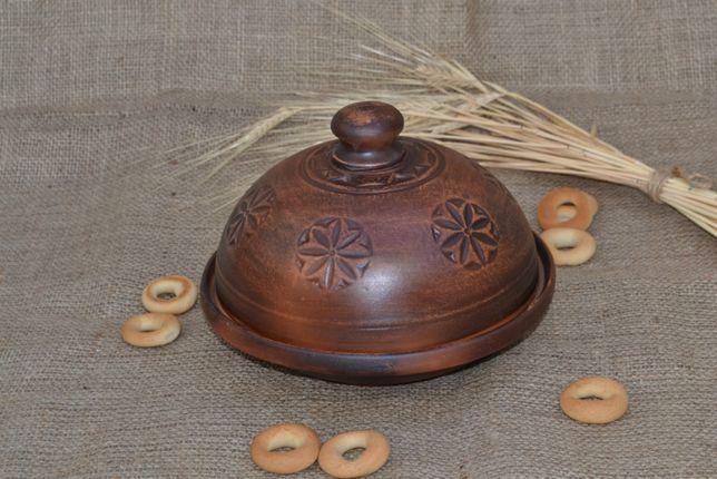 Блинница глиняная с крышкой посуда хлебница масленица тарелка тарілка
