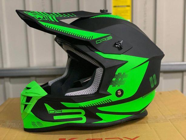 kask motocyklowy cross lazer OR3 PP3 czarno zielony s m l xl NOWY FV