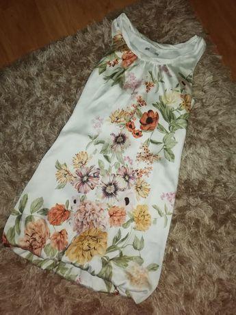 Sukienka bombka trapezowa kwiaty H&m 34 XS