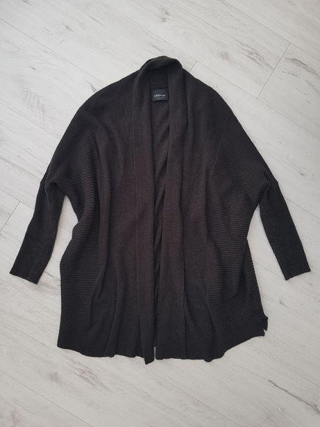 Sweterek Zara wiskoza S 36 uniwersalny L 40 M 38 brąz kardigan waterfa