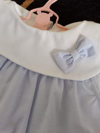 Vestido de bebe azul e branco novo tamanho 6 meses