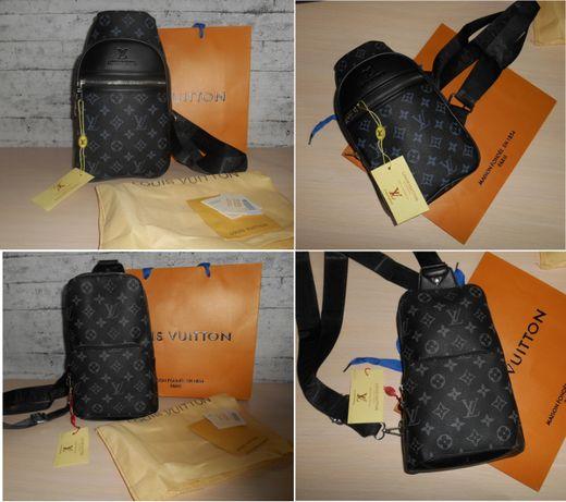 Сумка слинг рюкзак портфель в клетку и лого Louis Vuitton кожа,Франция