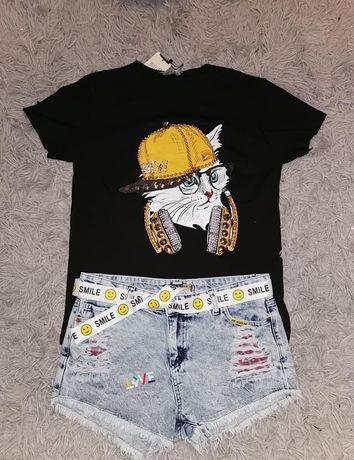 Mint T-shirt kot słuchawki didżej bluzka czarna biala cyrkonie S M L