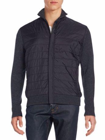 Saks Fifth Avenue bluza szara/czarna kaszmir r. M OKAZJA premium usa