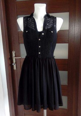 Sukienka czarna koronkowa z kołnierzykiem 36 S Atmosphere