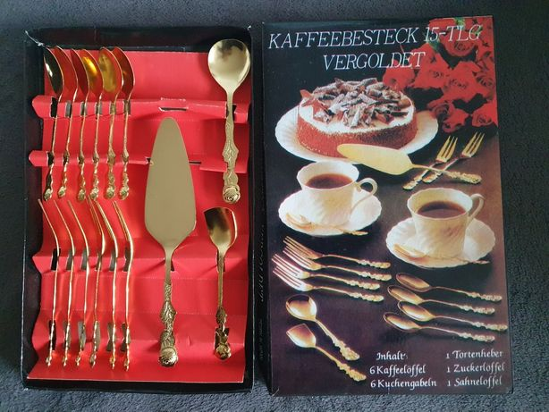 Pozłacane sztućce, komplet do kawy herbaty ciastka niemieckie nowe