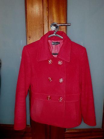 Casaco vermelho cintado em fazenda - T.38, M
