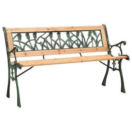 vidaXL Banco de jardim 122 cm ferro fundido e madeira de abeto maciça 312031