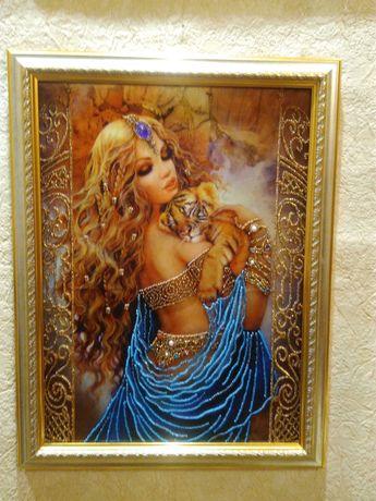 Картина бисером на шелке. Картина эротика. картина бисером в спальню