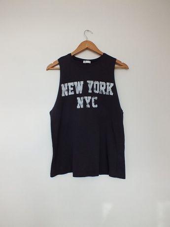 szara koszulka t-shirt S top na siłownię wycięte boki grube ramiączka