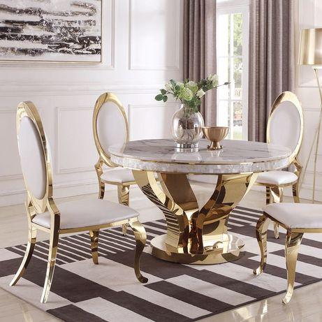 Złoty stół glamour Davson Gold okrągły złoty blat szklany