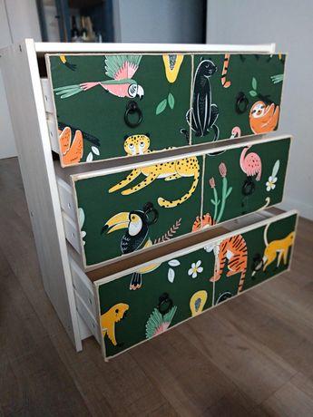 Komoda drewniana, sosna, dżungla, zwierzęta, DIY