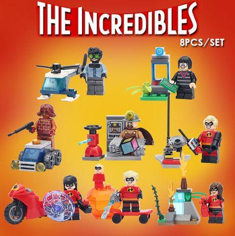 Coleção Bonecos /8 Minifiguras + Kits Os Incriveis - (compativel lego)