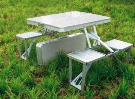 стол для сада или пикника Алюминиевый со 4 стульями, Складной !