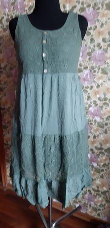 Платье сарафан коттон 48-50р с вышитым кружевом