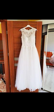 Suknia ślubna sukienka piękna księżniczka princessa tiul koronka 36/38