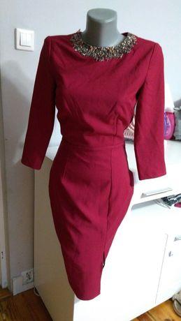 Bordo Sukienka z kolią nowa Czerwona bordowa ołówkowa MIDI  36 nowa S