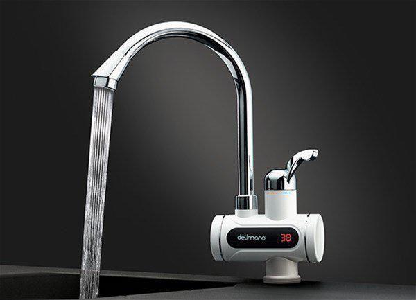 Электрический проточный водонагреватель (бойлер) кран Делимано душ/без