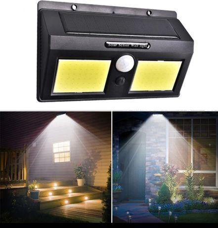 Lampa solarna 96 LED COB z czujnikirm ruchu i zmierzchu