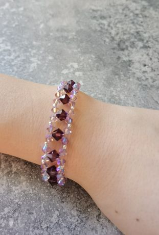 Srebrna bransoletka z kryształkami Swarovski