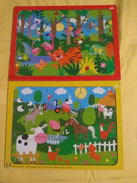 Puzzle zwierzęta na wsi, dzikie zwierzęta