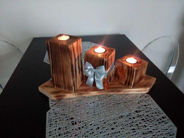 Świecznik drewniany własnorecznie wykonany