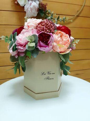 Flowerbox sztucznych kwiatów sztuczne kwiaty bukiet kompozycja pudełko