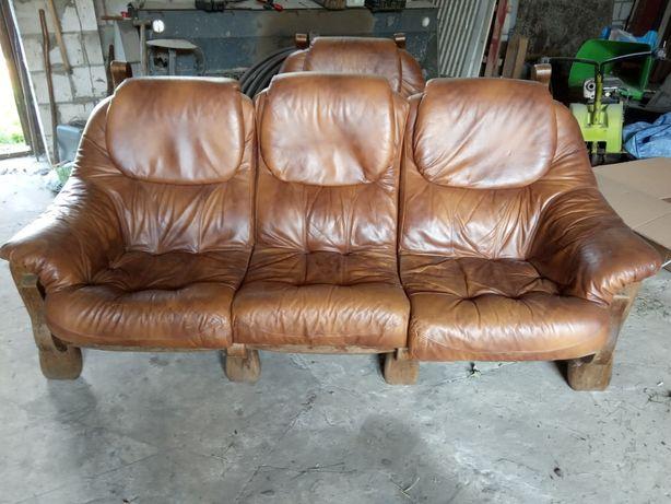 Kanapa skórzana + fotel, wypoczynek skórzany