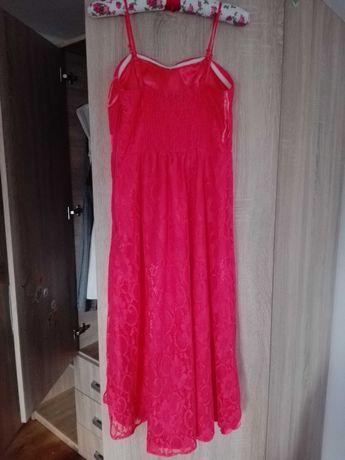 Elegancka koronkowa sukienka. Asymetryczna. Rozm 36