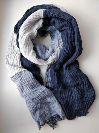 Великий шарф синій/сірий Tchibo