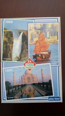 Puzzle 1000 x 3 Holenderskie Taj Mahal, Hong Kong, wodospad Victoria
