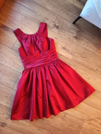 Sukienka elegancka bordowa L satynowa