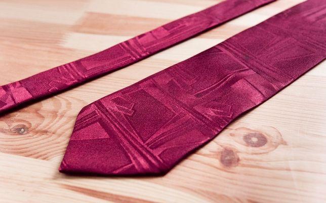 Krawat ręcznie wykonany bordowy we wzory jak nowy 9,5cm szeroki