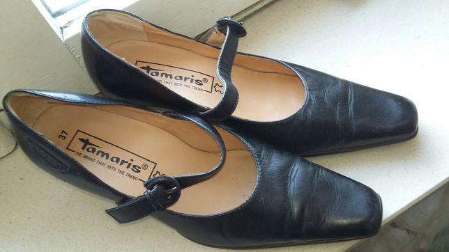 Czarne buty czółenka ze skóry tamaris r.37
